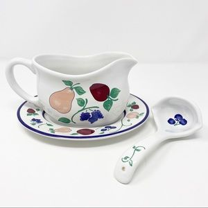 Princess House Orchard Medley Gravy Boat and Ladle